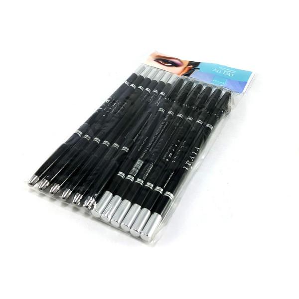 Lápis Delineador de Olhos com Apontador Preto Vivai 2034 - Pacote com 12 unidades