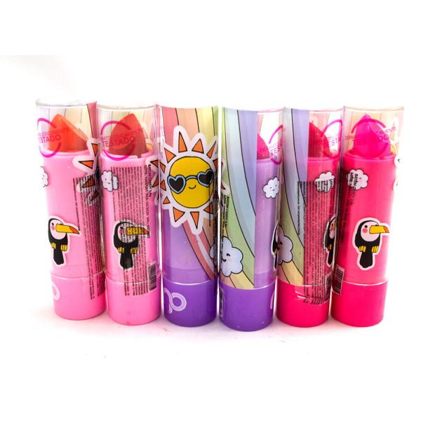 Batom Bastão Cremoso Infantil Candy Maria Pink MP10001 - Kit com 6 unidades Cores Sortidas