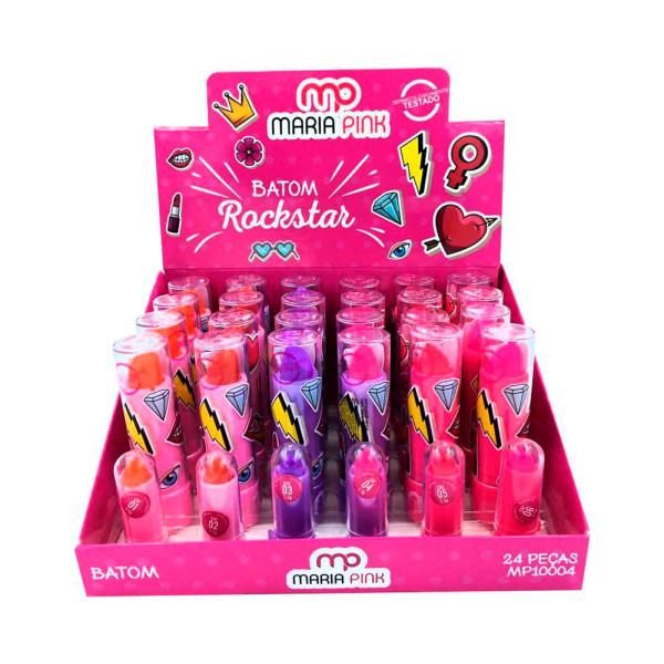Batom Bastão Cremoso Infantil Rockstar Maria Pink MP10004 - Display com 24 unidades