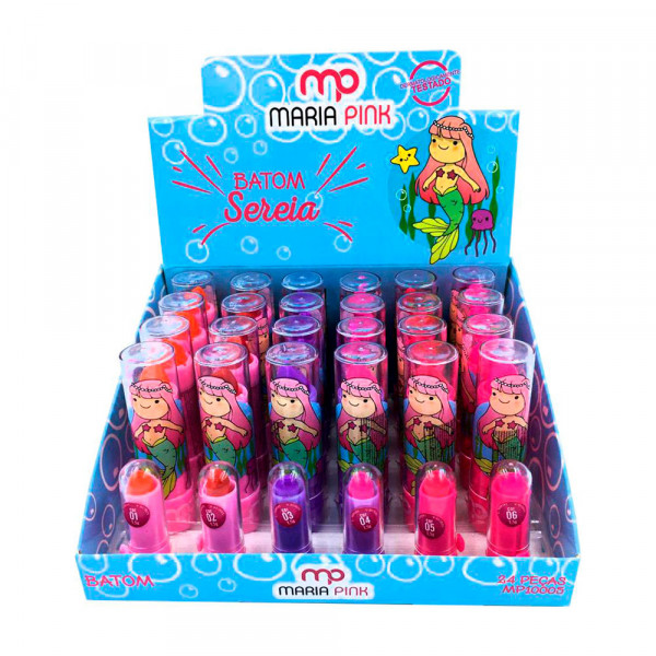 Batom Bastão Cremoso Infantil Sereia Maria Pink MP10005 - Display com 24 unidades