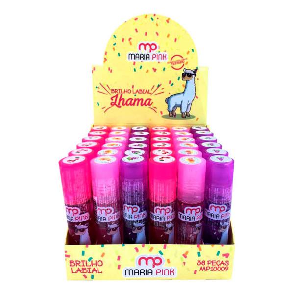 Brilho Labial Infantil Lhama Maria Pink MP10009 - Display com 36 unidades