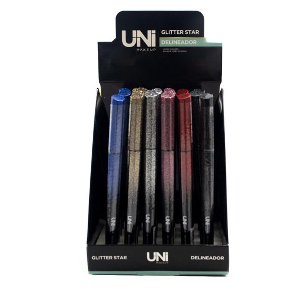 Delineador Caneta Glitter Star UniMakeup UN-DL188DS - Display com 24 unidades