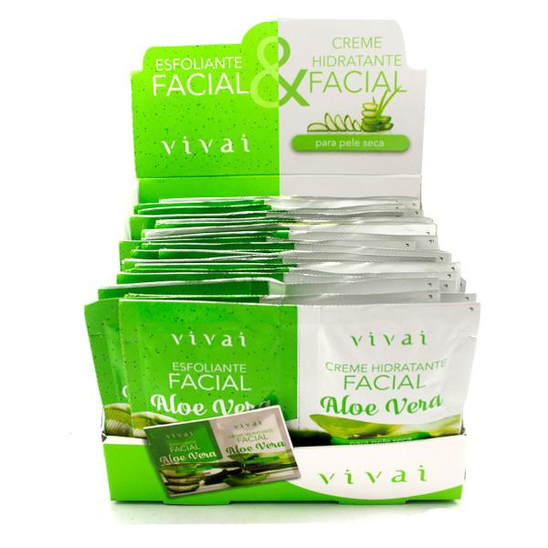Esfoliante Facial + Gel Creme Hidratante Facial Aloe Vera Sachê Vivai 5055 - Display com 24 unidades