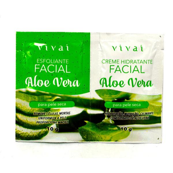Esfoliante Facial + Gel Creme Hidratante Facial Aloe Vera Sachê Vivai 5055