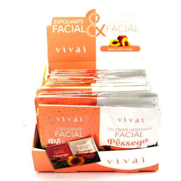 Esfoliante Facial + Gel Creme Hidratante Facial Pêssego Sachê Vivai 5053 - Display com 24 unidades