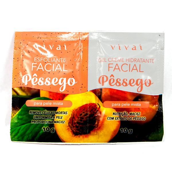 Esfoliante Facial + Gel Creme Hidratante Facial Pêssego Sachê Vivai 5053