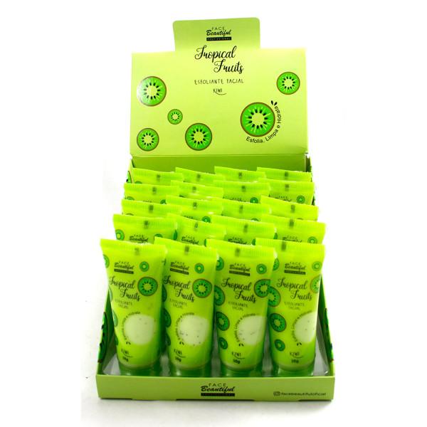 Esfoliante Facial Tropical Fruits Kiwi Face Beautiful FB167 - Display com 20 unidades