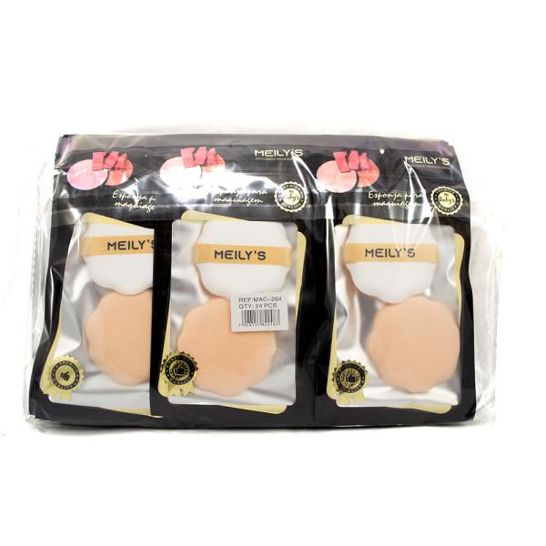 Kit com 2 Esponjas para Maquiagem Meily's MAC-264 - Pacote com 24 unidades