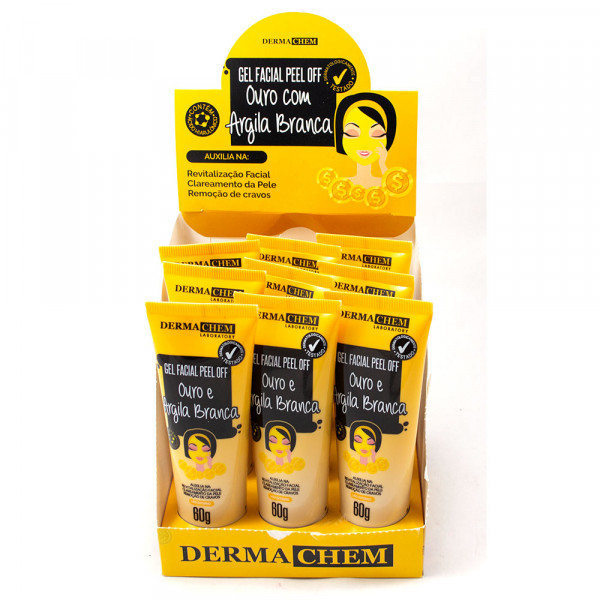 Gel Facial Peel Off Ouro com Argila Branca Dermachem Laboratory - Display com 9 unidades