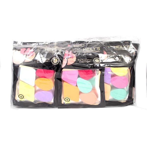 Kit com 5 Esponjas em Látex para Maquiagem Meily's MAC-238 - Pacote com 12 unidades