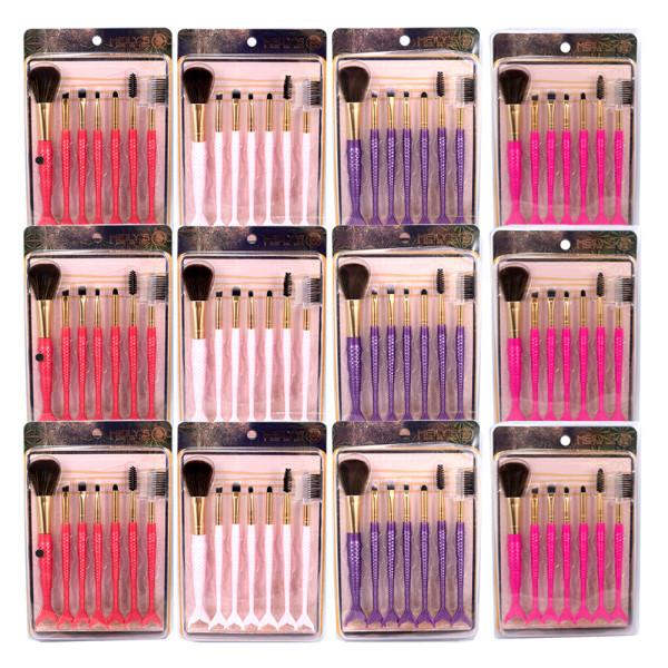 Kit com 7 Pincéis para Maquiagem Sereia Meily's MKP-511 - Pacote com 12 unidades