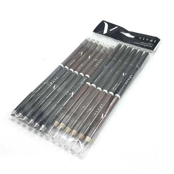 Lápis Delineador de Olhos 2 em 1 Preto e Marrom com Apontador Vivai 2010.4 - Pacote com 12 unidades