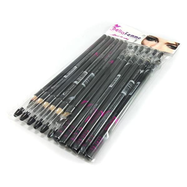 Lápis para Olhos Preto c/ Apontador Bella Femme BF10003 - Pacote com 12 unidades