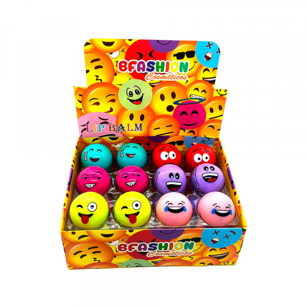 Lip Balm Hidratante Labial Emoji BFashion NR50005 - Display com 24 unidades