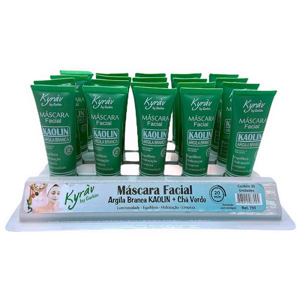 Máscara Facial Argila Branca Kaolin + Chá Verde Kyràv - Display com 20 unidades