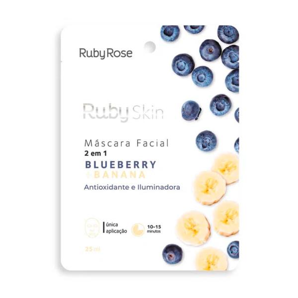 Máscara Facial de Tecido Blueberry + Banana Skin Ruby Rose HB-705