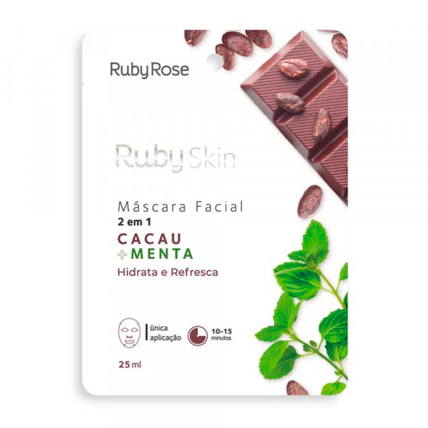 Máscara Facial de Tecido Cacau + Menta Skin Ruby Rose HB-710