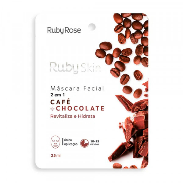 Máscara Facial de Tecido Café + Chocolate Skin Ruby Rose HB-709