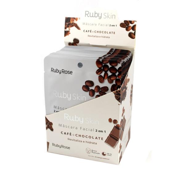 Máscara Facial de Tecido Café + Chocolate Skin Ruby Rose HB-709 - Display com 24 unidades