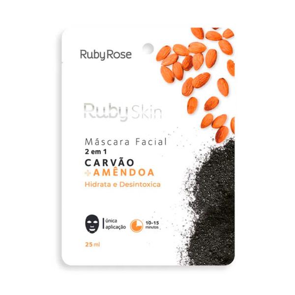 Máscara Facial de Tecido Carvão + Amêndoa Skin Ruby Rose HB-706