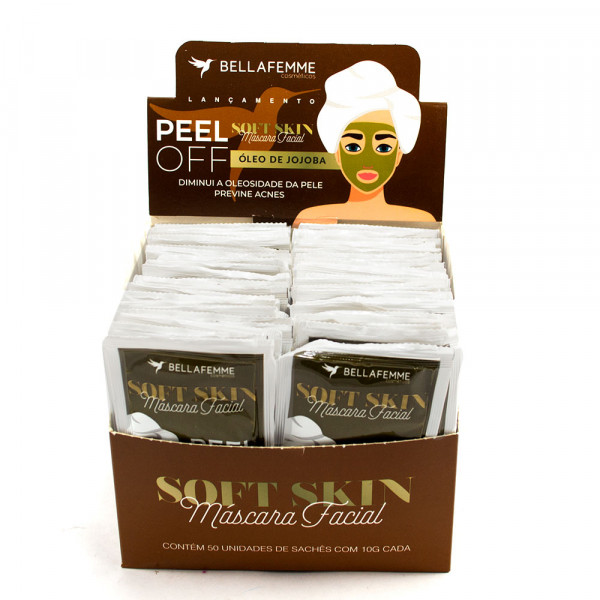 Máscara Facial Peel Off Óleo de Jojoba Soft Skin Bella Femme SS80019 - Display com 50 unidades