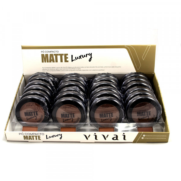 Pó Compacto Matte Luxury Cores Escuras Vivai 1013 - Display com 24 unidades