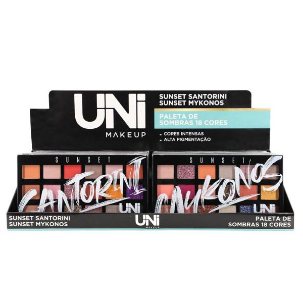 Paleta de Sombras 18 Cores UniMakeup UN-SO185DS - Display com 12 unidades