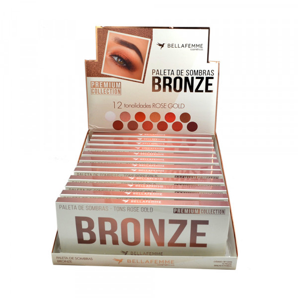 Paleta de Sombras Bronze Rose Gold Premium Collection Bella Femme BF10059 - Display com 12 unidades