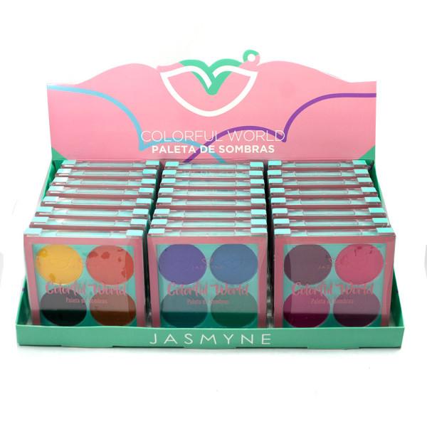 Paleta de Sombras Colorful World Jasmyne JS01051 - Display com 24 unidades