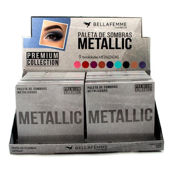 Paleta de Sombras Metallic Bella Femme BF10068 - Display com 12 unidades