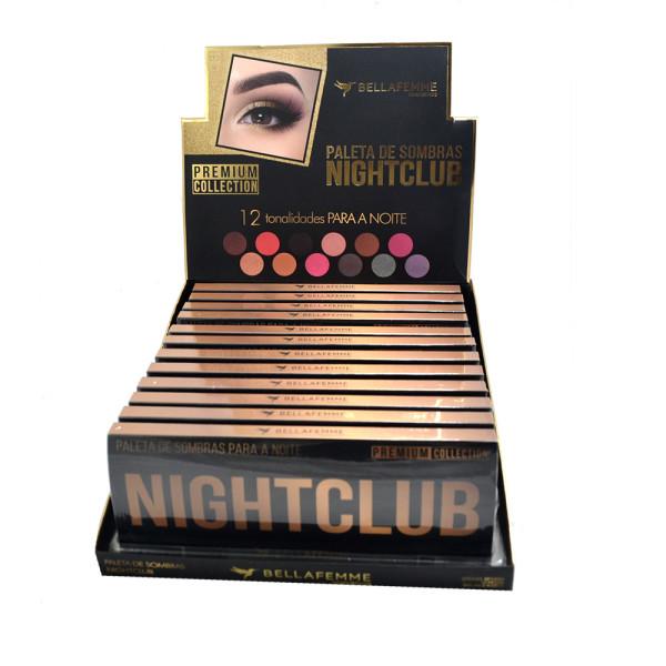 Paleta de Sombras Nightclub Premium Collection Bella Femme BF10063 - Display com 12 unidades