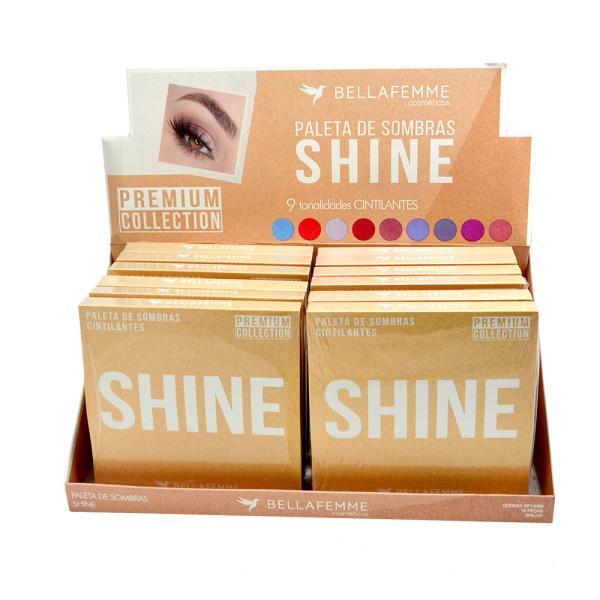 Paleta de Sombras Cintilantes Shine Premium Collection Bella Femme BF10069 - Display com 12 unidades