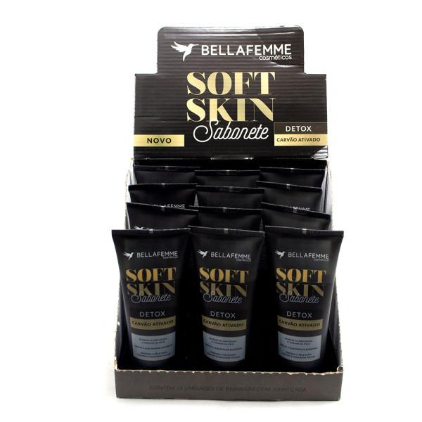 Sabonete Detox Carvão Ativado Soft Skin Bella Femme SS80010 - Display com 12 unidades