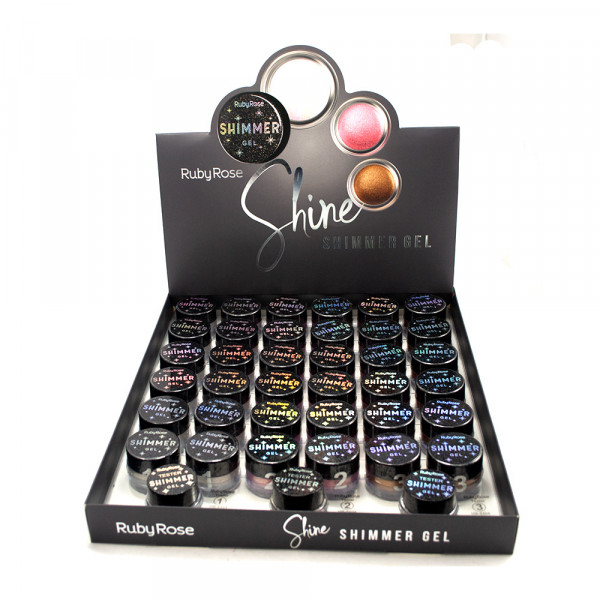 Iluminador Shimmer Gel Shine Ruby Rose HB-8404 - Display com 36 unidades