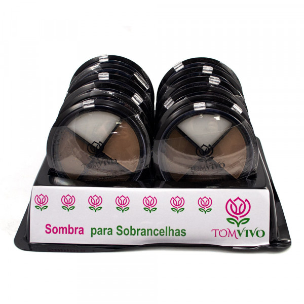 Kit Sombra para Sobrancelha + Primer Tom Vivo - Display com 12 unidades